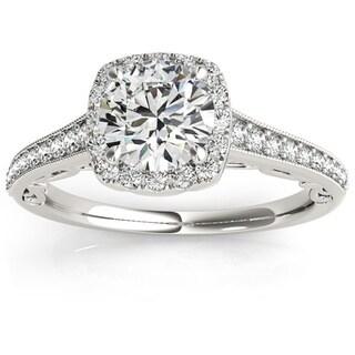 Transcendent Brilliance 14k Gold Graduate Halo Diamond Engagement Ring 1 1/4 TDW