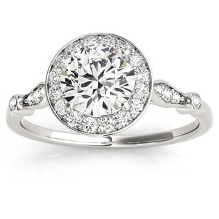 Transcendent Brilliance Petite Vintage Style Halo Diamond Engagement Ring 1 1/10 TDW