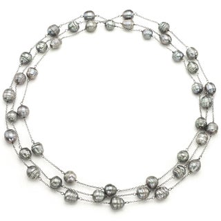 """DaVonna Sterling Silver 10-11mm Grey Baroque Freshwater Pearl Endless Station Necklace, 60"""""""