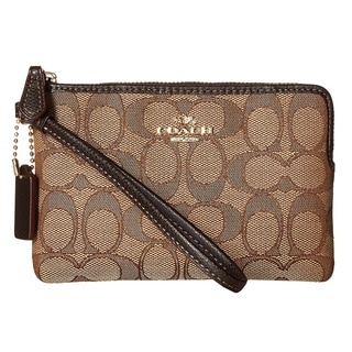 Coach Box Program Brown Signature Jacquard Corner Zip Wallet