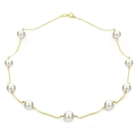 """DaVonna Yellow Gold over Silver 8-9mm White Freshwater Tin-cup Station Necklace, 18"""""""
