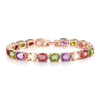 Fancy Multi-Color Oval Gemstone Bracelet in Rose Hue