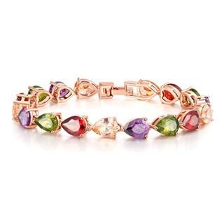 Fancy Multi-Color Pear Gemstones Bracelet in Rose Hue