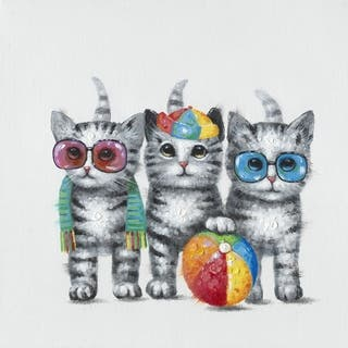 Y-Decor 19.7 x 19.7-inch 'Summer Kittens' Original Handpainted Multicolored Square Canvas Artwork|https://ak1.ostkcdn.com/images/products/13827601/P20473232.jpg?impolicy=medium