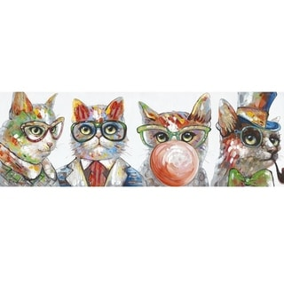 Y-Decor 'Copycat' Original Hand-painted 19.7 x 59-inch Wall Mounted Canvas Artwork
