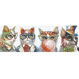 Y-Decor 'Copycat' Original Hand-painted 19.7 x 59-inch Wall Mounted Canvas Artwork|https://ak1.ostkcdn.com/images/products/13827602/P20473230.jpg?_ostk_perf_=percv&impolicy=medium