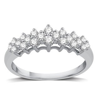 1/2 CTTW Diamond Three Row Wedding Band In Sterling Silver (I/J- I2)