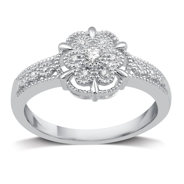 ece2a2c34ee Shop Sterling Silver 1/20ct TDW Diamond Flower Shaped Ring - Free ...