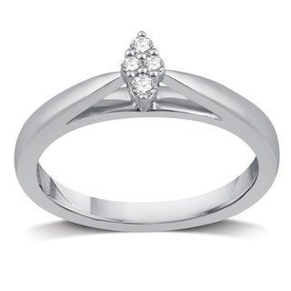 Allure 0.1-ctw Diamond Platinaire (I/J- I2) Accent Cluster Marquise-shaped Engagement Ring - White