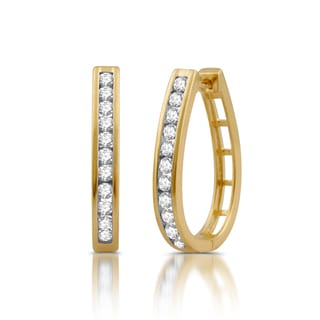Sterling Silver 1ct TDW Diamond Hoop Earrings With Yellow Plating (I/J- I2)