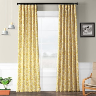 Exclusive Fabrics Yellow and Grey 50-inch Wide Abstract Blackout Curtain Panel Pair