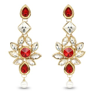 Liliana Bella Goldplated Red & White Crystal Dangle Earrings With Pearl Drop