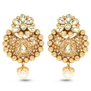 Liliana Bella Handmade Goldplated Pearl Drop Floral Chandelier Earrings