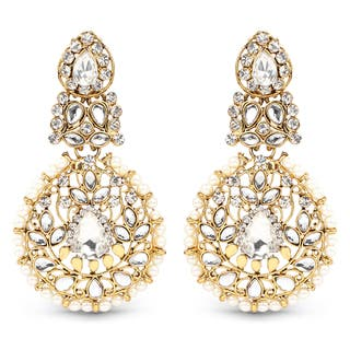 Liliana Bella Goldplated Chandelier Earrings With Pearl And White Crystal|https://ak1.ostkcdn.com/images/products/13827713/P20473271.jpg?impolicy=medium
