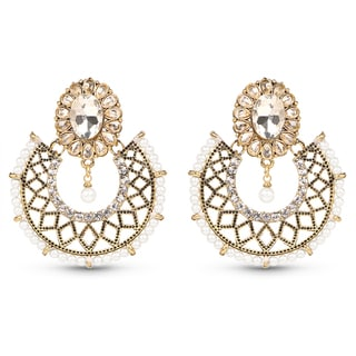 Liliana Bella Goldplated Dangling Earrings With White Crystal And Pearl