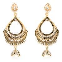 Liliana Bella Goldplated Cubic Zirconia Chandelier Earrings With Pearl Drop - White