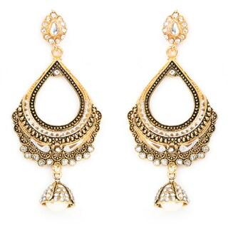 Liliana Bella Goldplated Cubic Zirconia Chandelier Earrings With Pearl Drop
