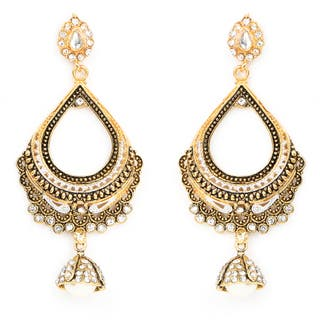 Liliana Bella Goldplated Cubic Zirconia Chandelier Earrings With Pearl Drop - White