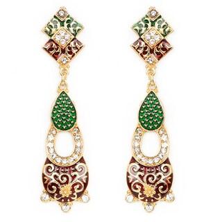 Liliana Bella Handmade Green & Maroon Enamel Chandelier Earrings With Cubic Zirconia - White