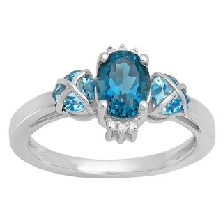 Sterling Silver London Blue Topaz and White Diamond 3-stone Ring (I-J, I2-I3)