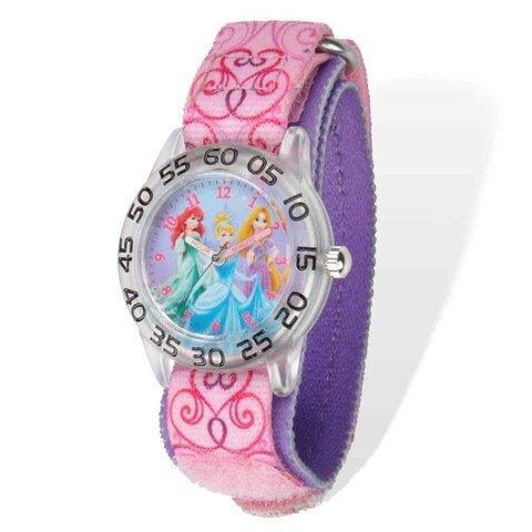 Disney Princess Acrylic Case Pink Hook and Loop Time Teacher Watch