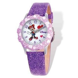 Disney Minnie Mouse Purple Leather Tween Glitz Watch