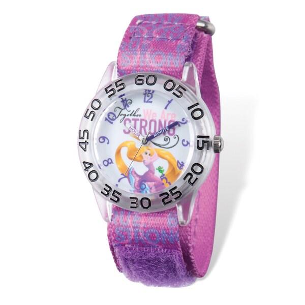 Disney Kids Princess Rapunzel Time Teacher Nylon Mesh Velcro Band Watch - Purple