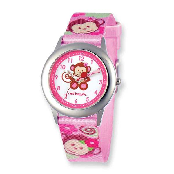 Red Balloon Pretty Girly Monkey Printed Band Time Teacher Watch