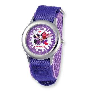 Red Balloon Love Owl Purple Hook and Loop Time Teacher Watch
