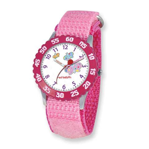 Sesame Street Red Balloon Kids Butterfly Pink Hook and Loop Band Time Teacher Watch