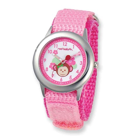 Sesame Street Red Balloon Pretty Girly Monkey Hook and Loop Band Time Teacher Watch