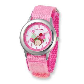 Red Balloon Pretty Girly Monkey Hook and Loop Band Time Teacher Watch
