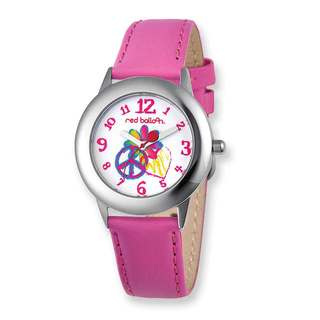 Red Balloon Peace Pink Leather Band Tween Watch