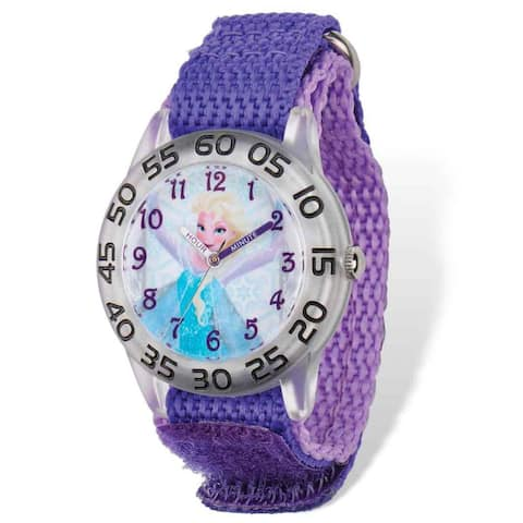 Disney Frozen Elsa Acrylic Case Purple Hook and Loop Time Teacher Watch by Versil - White