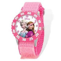 Disney Frozen Elsa/Anna Pink Hook and Loop Time Teacher Watch
