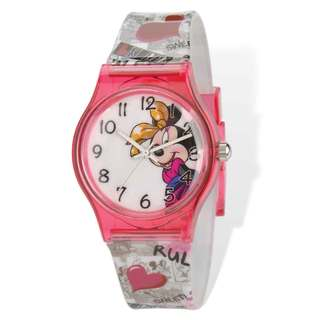 Disney Minnie Mouse Acrylic Case Printed Band Tween Watch