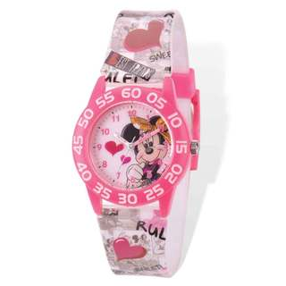 Disney Minnie Acrylic Case Printed Band Time Teacher Watch