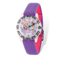 Disney Kids Princess Purple Stretch Band Time Teacher Watch