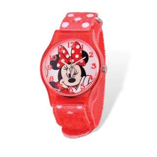 Disney Kids Minnie Mouse Acrylic Case Red Dot Band Tween Watch