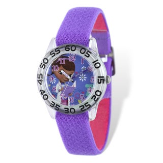 Disney Doc McStuffins Acrylic Purple Stretch Band Time Teacher Watch