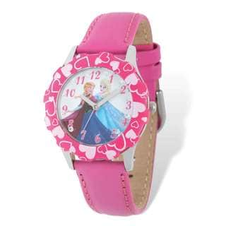 Disney Frozen Anna/Elsa Pink Leather Tween Watch
