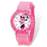 Disney Minnie Mouse Pink Hook and Loop Band Time Teacher Watch