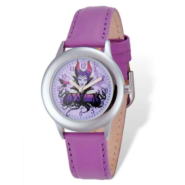 Stainless Steel Disney Maleficent Purple Leather Band Tween Watch. Opens flyout.