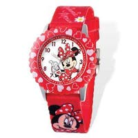 Disney Minnie Mouse Printed Red Fabric Time Teacher Watch