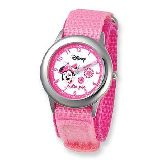 Disney Kids Minnie Mouse Pink Hook and Loop Band Time Teacher Watch