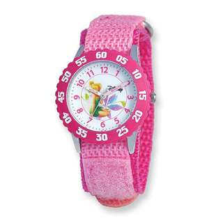Disney Kids Tinker Bell Pink Hook and Loop Band Time Teacher Watch