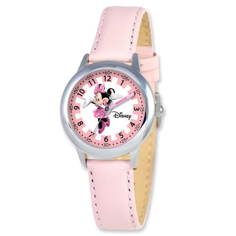 Disney Kids Minnie Mouse Pink Leather Band Arabic Numerals Time Teacher Watch