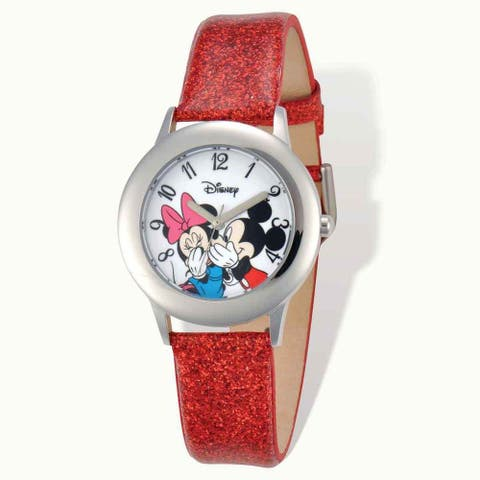 Disney Minnie & Mickey Red Leather Tween Watch