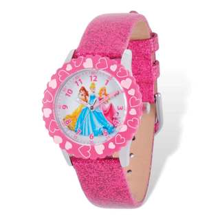 Disney Princesses Pink Leather Band Time Teacher Watch