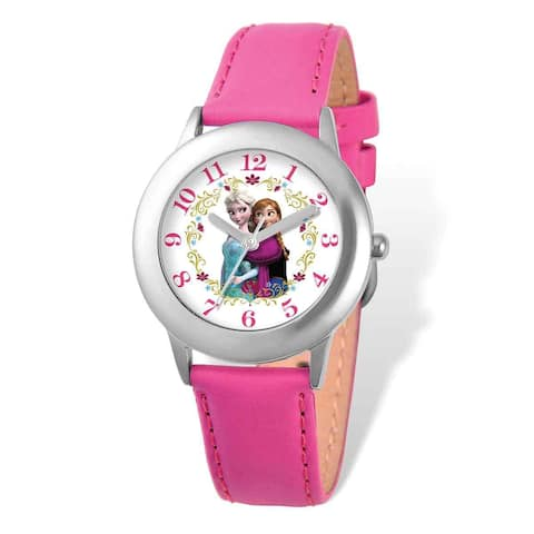 Disney Frozen Elsa/Anna Pink Leather Tween Watch